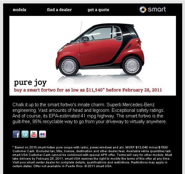 Smart USA is offering a $1,500 discount on leftover 2010 Smart ForTwo coupes