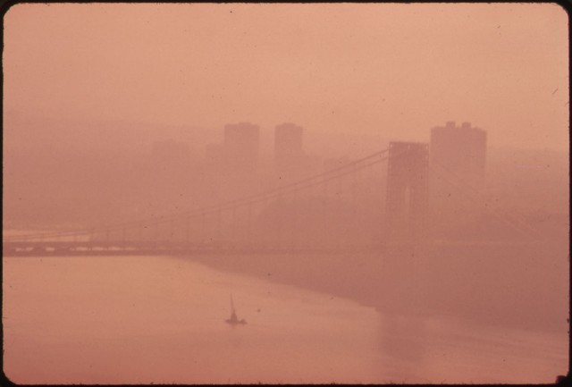 Smog obscures George Washington Bridge, 1973 [From EPA Documerica series]