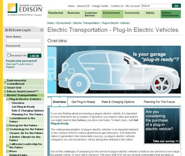 Southern California Edison - Plug-In Electric Vehicle website