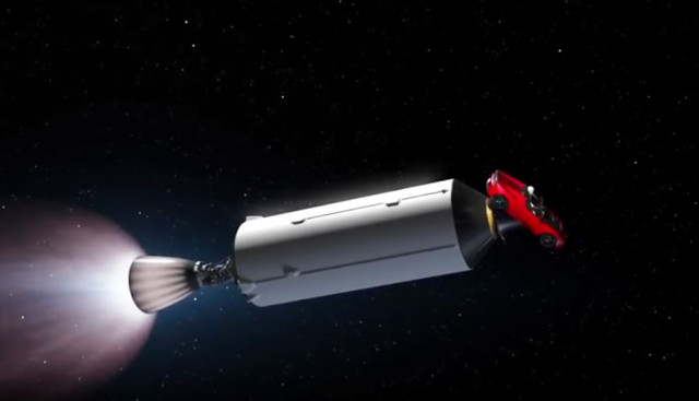 SpaceX Falcon Heavy with Tesla Roadster payload