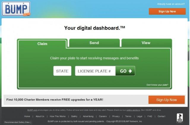Splash page for Bump.com