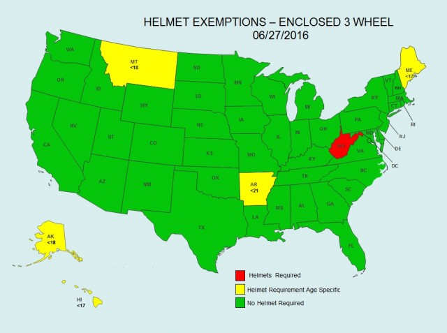 State-by-state map showing where autocycle occupants require helmets, June 2016 [Elio Motors]