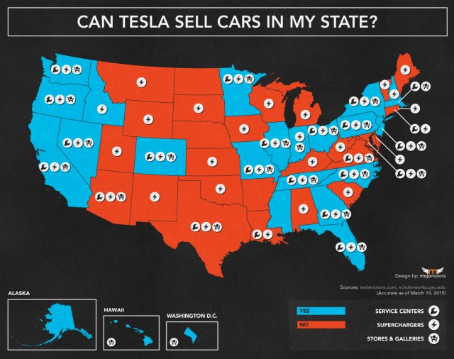 State map showing where Tesla Motors can (blue) and can't (red) sell cars [Mojo Motors, Mar 2015]