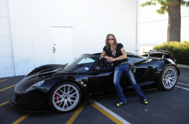 Steven Tyler takes delivery of his Hennessey Venom GT Spyder - image: HPE Design