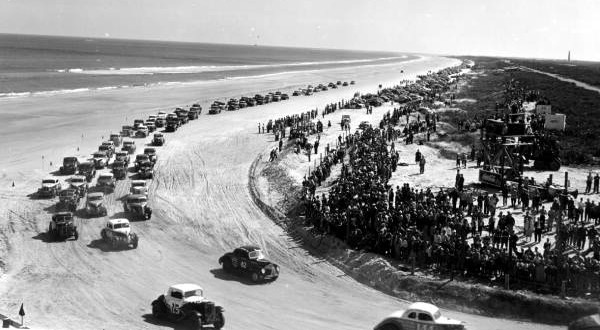 Stock cars raced on the beach at Daytona until the 2 1/2-mile speedway was constructed in the late 1