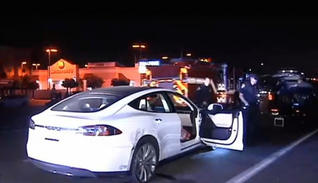 Stolen Tesla Model S recovered using phone app. Image courtesy of CBS8.