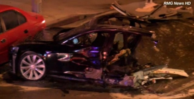 Stolen Tesla Model S splits in half, catches fire after massive crash in LA area