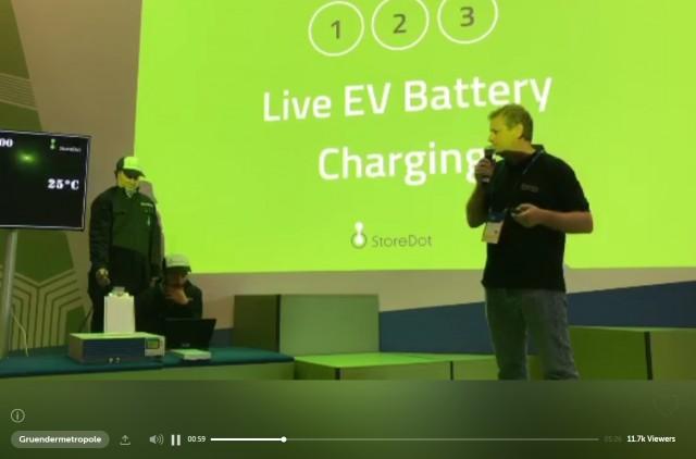 StoreDot shows fast-charging battery cell, Cube Tech Fair, Berlin [via Periscope: Gruendermetropole]