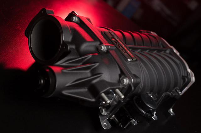 "Supercharger developed by Ford Performance and Roush for ""Coyote"" 5.0-liter V-8"