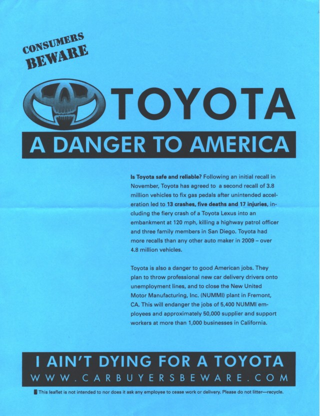 Teamsters Union leaflet at 2010 Detroit auto show