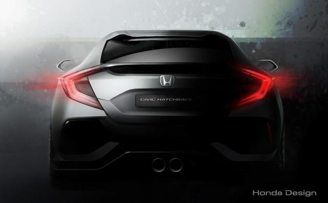 Teaser for 10th-generation Honda Civic Hatchback prototype debuting at 2016 Geneva Motor Show
