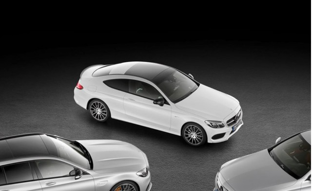Teaser for 2017 Mercedes-AMG C43 Coupe debuting at 2016 Geneva Motor Show