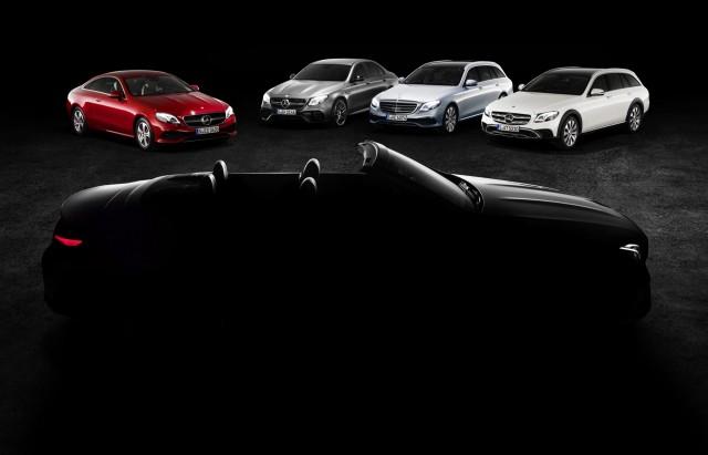 Teaser for 2018 Mercedes-Benz E-Class Cabriolet debuting at 2017 Geneva auto show