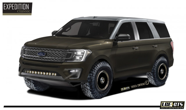 Teaser for 2019 LGE*CTS Ford Expedition Classic debuting at 2018 SEMA show