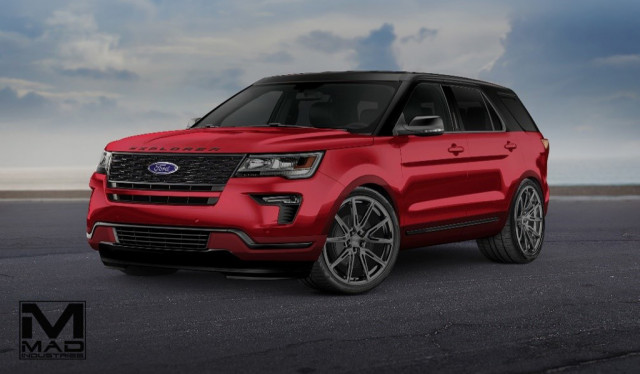 Teaser for 2019 MAD Industries Ford Explorer debuting at 2018 SEMA show