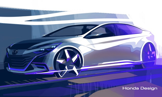Teaser for Honda sedan concept debuting at the 2014 Beijing Auto Show