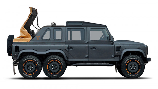 Teaser for Kahn Design Flying Huntsman 110 6x6 Double Cab Pickup Soft-Top