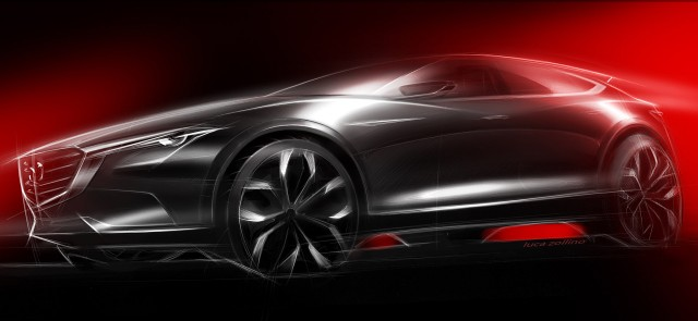 Teaser for Mazda Koeru concept debuting at 2015 Frankfurt Auto Show
