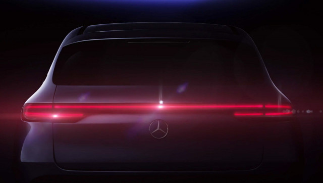 Teaser for Mercedes-Benz EQC electric SUV debuting on September 4, 2018