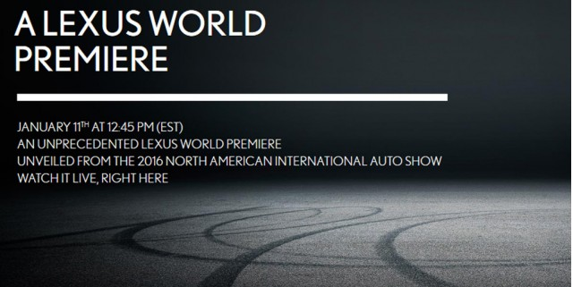 Teaser for new Lexus debuting at 2016 Detroit Auto Show