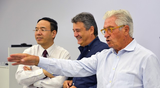Left to right: Matthew Jin, Fabrizio Giugiaro and Giorgetto Giugiaro