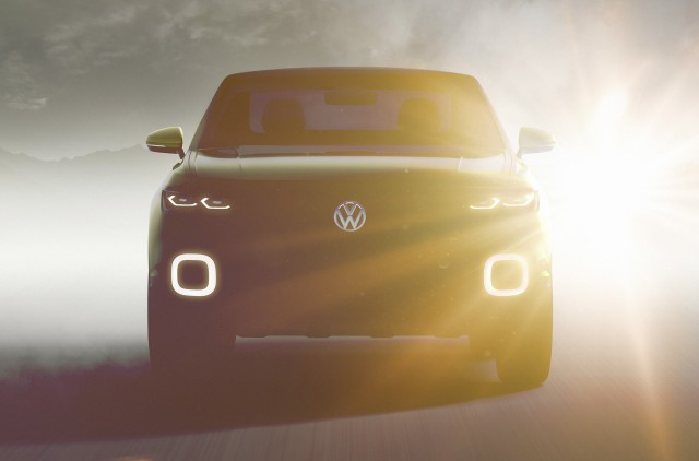 Teaser for Volkswagen crossover concept debuting at 2016 Geneva Motor Show