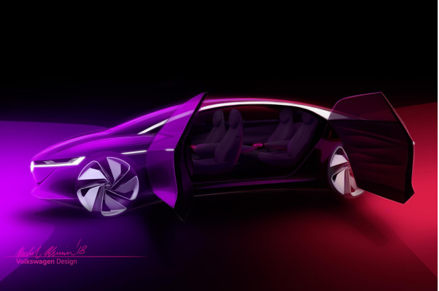Teaser for Volkswagen ID Vizzion concept debuting at 2018 Geneva auto show