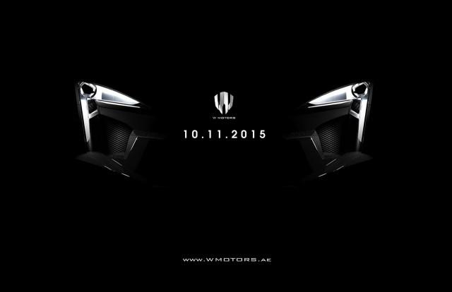 Teaser for W Motors Fenyr Supersport debuting at 2015 Dubai Motor Show