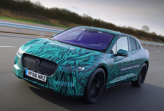 Teaser Photo Of Jaguar I Pace Electric Car In Camouflage Undergoing Road  Testing, March
