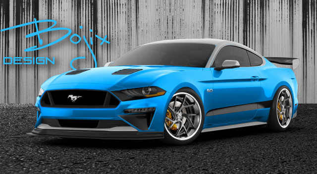 Teaser sketch for 2019 Bojix Design Ford Mustang debuting at 2018 SEMA show