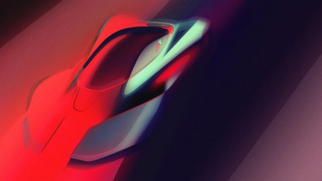 Teaser sketch for Pininfarina PF0 electric hypercar debuting in 2019