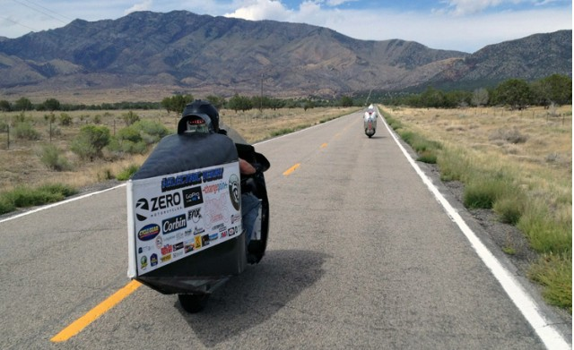 Terry Hershner competing in 2014 Vetter Challenge for motorcycle with lowest energy cost