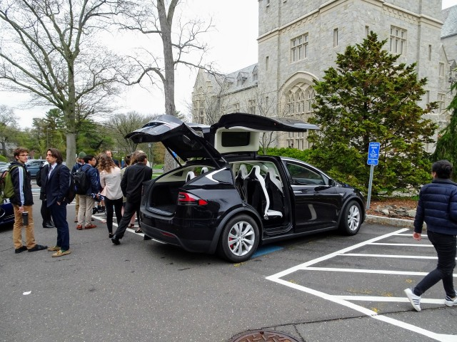 Tesla electric cars on exhibit outside UConn Conference on Climate, Carbon & Cars, Apr 2017