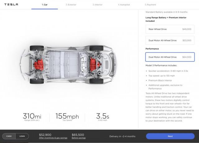 Tesla Model 3 Configurator order 6/18 dual engine, power options [Image via Teslarati]