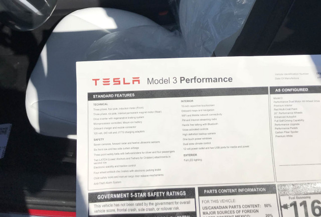 Tesla Model 3 Performance window sticker