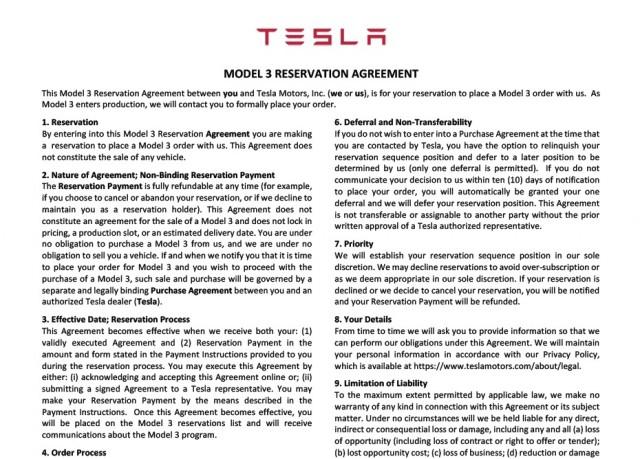 Tesla Model 3 Reservation Agreement