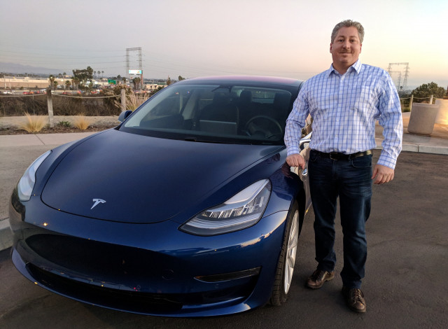 Tesla Model 3 with BMW i3 driver Tom Moloughney, Dec 2017  [photo: Tom Moloughney]