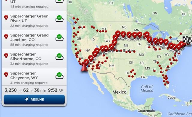 Tesla Model S - Trip Planner feature