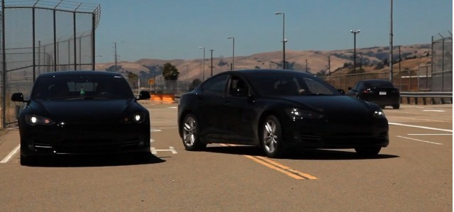 Tesla Model S Alpha build cars testing on track