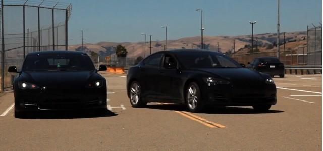 Tesla Model S Alpha Build Cars Testing On Track