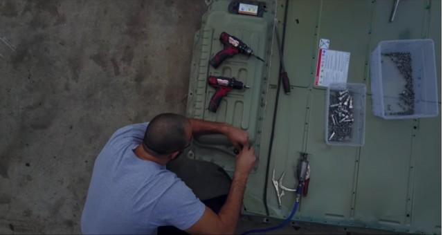 Tesla Model S battery pack teardown: frame from YouTube video by JehuGarcia, Feb 2017