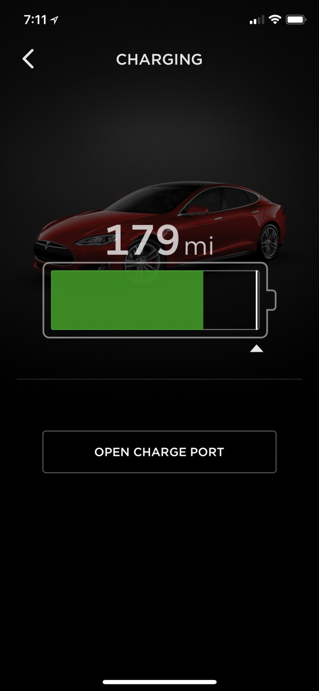 Tesla Model S display showing enough battery range to continue next road-trip leg [photo: Jay Lucas]