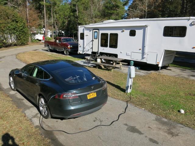 Tesla Model S charging at RV Park in Biloxi, MS, during electric-car road trip [photo: David Noland]