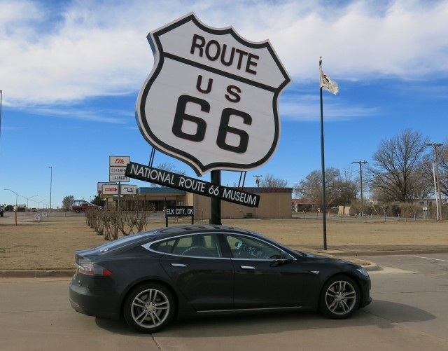 Tesla Model S electric-car road trip, Route 66 Museum, Elk City, Oklahoma  [photo: David Noland]