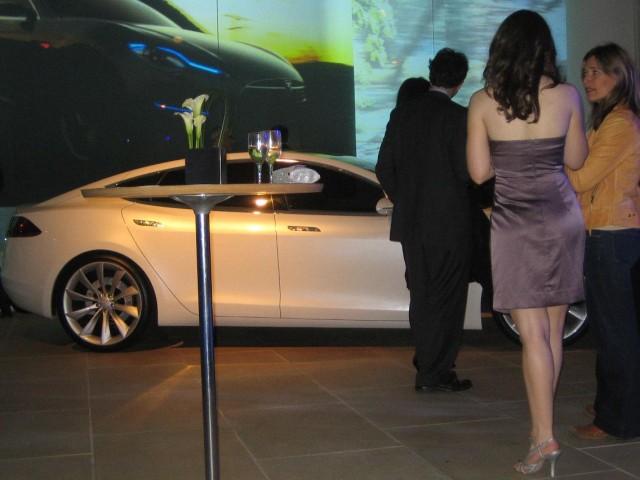 Tesla Model S launch party guests, IAC Building, Manhattan
