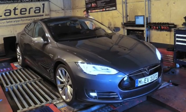 Tesla Model S on the dyno with Autocar