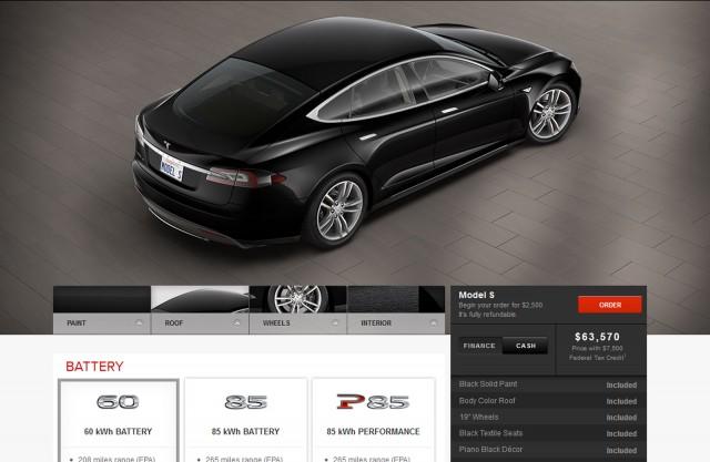 Tesla Model S order page