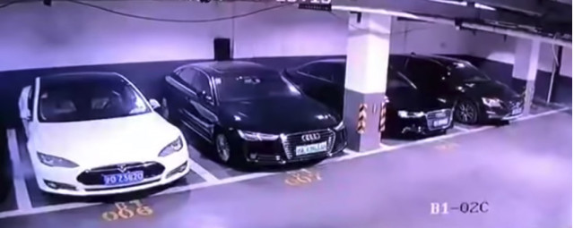Tesla Model S catches fire in China