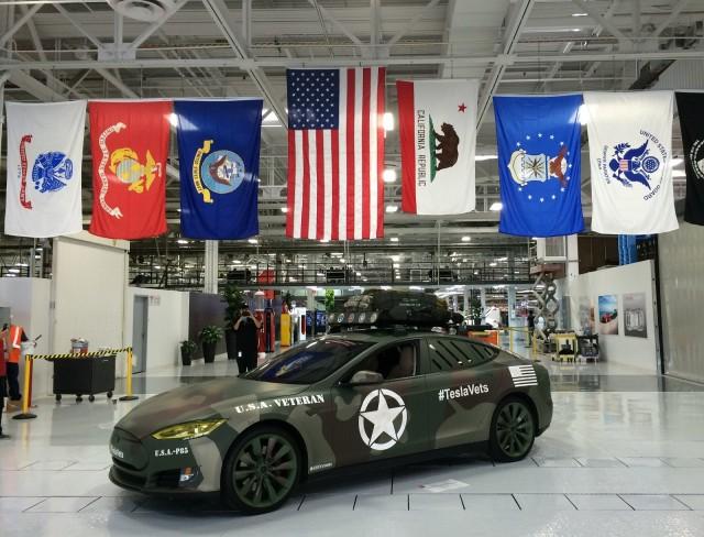 Tesla Model S veterans recruitment vehicle