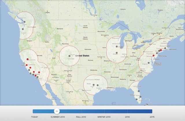 Tesla Motors Supercharger network in Summer 2013 - released May 2013